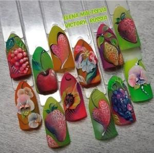 Дизайн ногтей из цветных акрилов