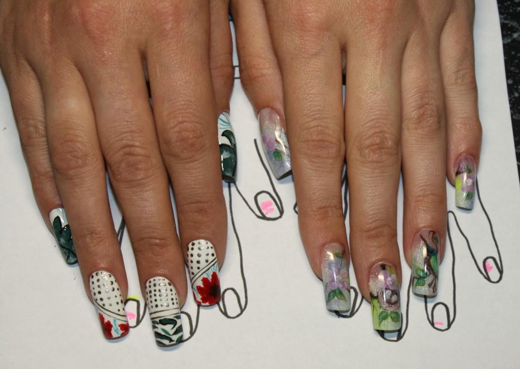 """Работа Натальи Мироновой: """"Роспись на смоделированных ногтях по образу"""" и """"Внутренний дизайн ногтей """"Флора и Фауна"""""""